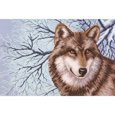 Broderie imprimée wolf loup sur aida - Collection d'art