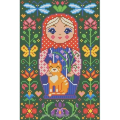 Broderie diamant Diamond Painting poupée russe avec le chat