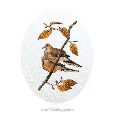 Kit tableau point de croix turtle doves sur lin de Thea Gouverneur