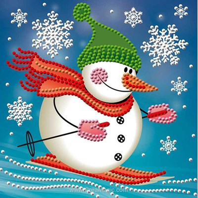 Broderie diamant skying snowman de Diamond Painting