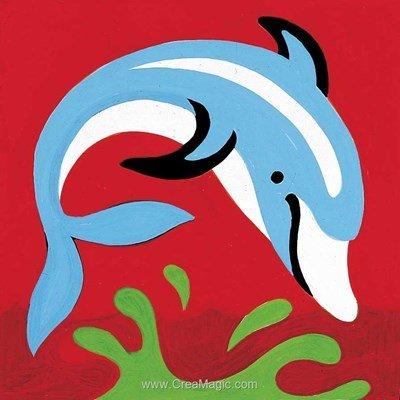 Kit canevas pour d butant dauphins poissons for Kit poisson rouge