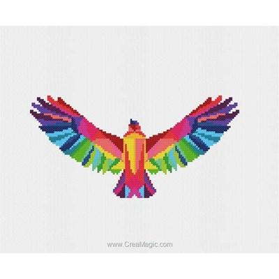 Kit tableau point de croix Marie Coeur faucon coloré