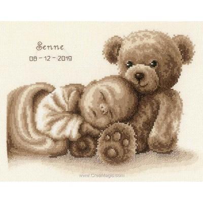 Tableau de naissance point de croix bébé et ours - Vervaco