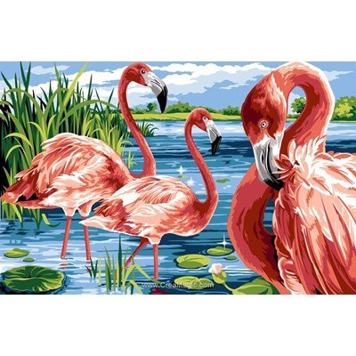 Canevas l'ile aux flamants rose de Margot