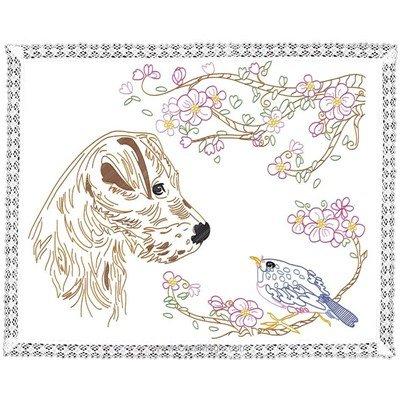Kit napperon chien et oiseau en broderie traditionnelle de Luc Création DK-6018