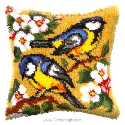 Coussin point noue Orchidea duo d'oiseaux sur la branche