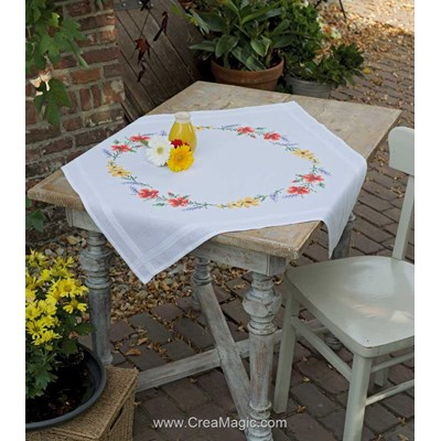Nappe en kit fleurs et lavande au point de croix imprimé - Vervaco PN-0158551