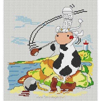 Modèle broderie vache golfeuse - toile lin d'Anagram