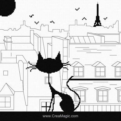 Modèle point de croix Princesse silouhette de chat sur les toits
