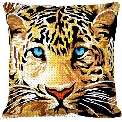 Kit coussin au demi point léopard aux yeux bleus de Margot