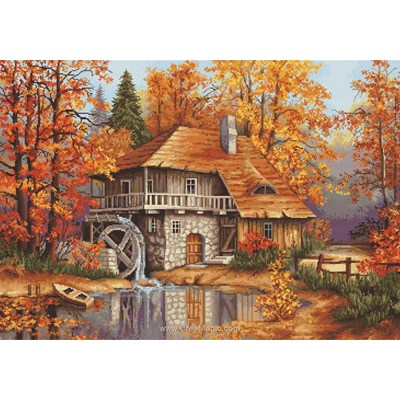 Kit broderie point compté moulin en automne - Luca-S