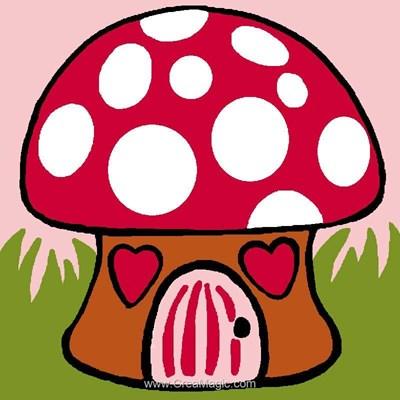 Kit canevas pour débutant champignon maisonnette de Luc Création