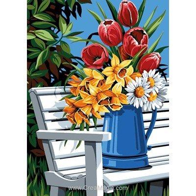 Vase de fleurs bleu canevas - SEG