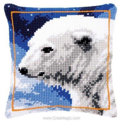 Kit coussin Vervaco portrait d'ours blanc au point de croix