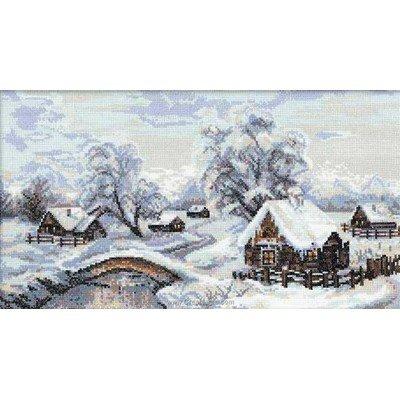 Broderie point compté ambiance d'hiver au village - RIOLIS