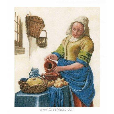 Kit à broder de Lanarte au point de croix la laitière tradition