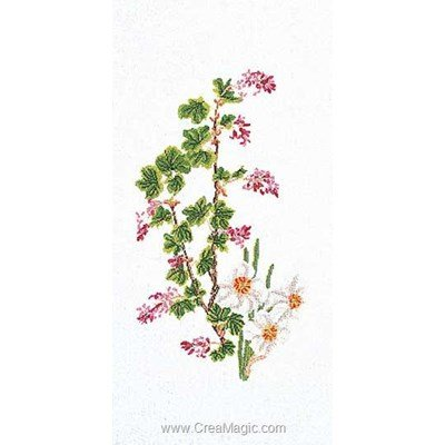 Flowering currant-narcissu sur aida kit Thea Gouverneur à broder