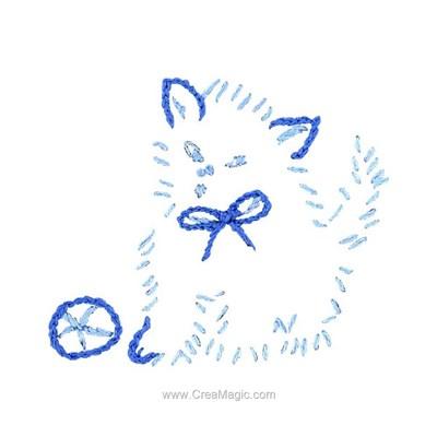 Kit broderie traditionnelle chaton bleu d'Au Fil De L'Ange