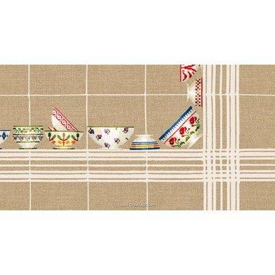 Kit nappe bols à carreaux blanc 180x180 à broder au point de croix Le Bonheur Des Dames