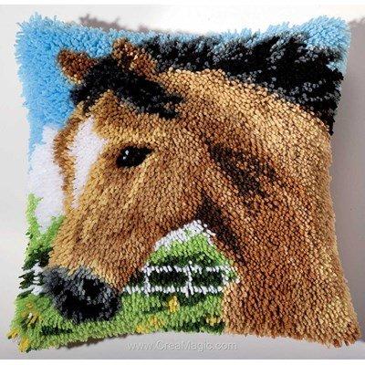 Coussin point noué cheval brun - Vervaco