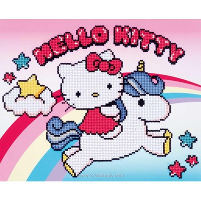 Kit broderie diamant Vervaco hello kitty avec licorne