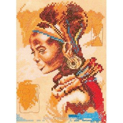 African woman - small sur etamine broder en point de croix - Lanarte