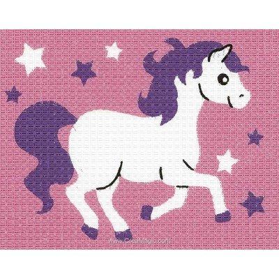 Kit canevas Vervaco pour enfant petit poney rose