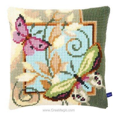 Coussin au point de croix papillons pastels - Vervaco