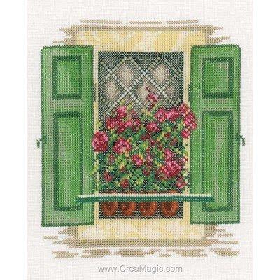 Les fleurs aux volets verts point de croix de Lanarte à broder