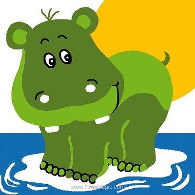 Hippopotame vert kit canevas enfant - Luc Création