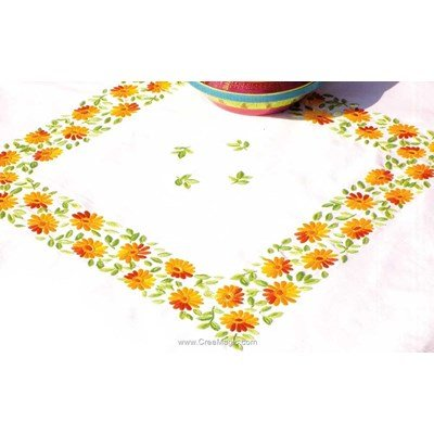 Serviette de table imprimée ensoleillement en broderie traditionnelle - Montée dentelle de BrodArt