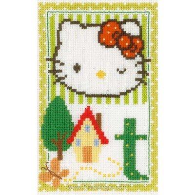 Modèle broderie au point de croix Vervaco hello kitty lettre t