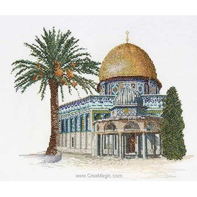 Dome of the rock sur lin broderie point de croix - Thea Gouverneur