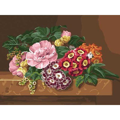 Canevas DMC bouquet aux camélias