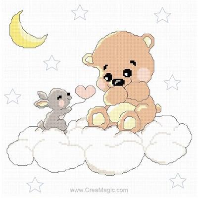 Kit point de croix ourson et lapin dans sur leur nuage de Princesse