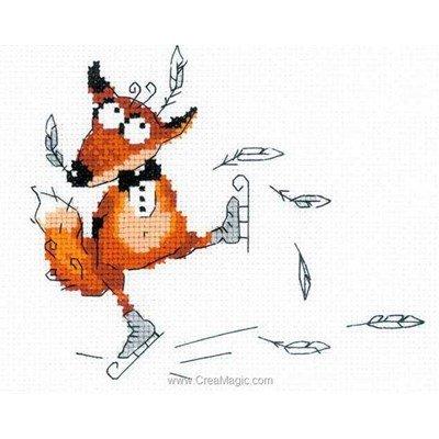 Mini kit au point de croix RIOLIS le renard à la patinoire