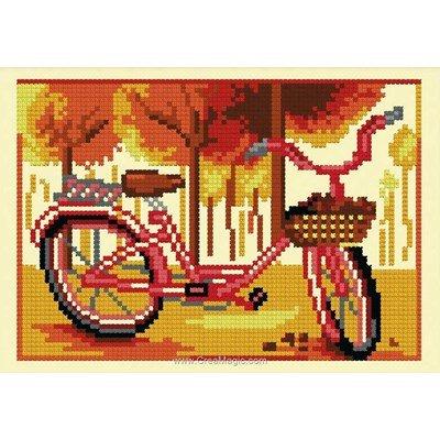 Kit à broder de Luc Création au point de croix bicyclette de l'automne