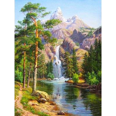 Broderie diamant Diamond Painting mountain waterfall
