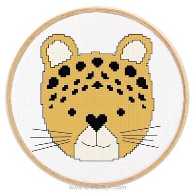 Modèle broderie au point de croix tableautin petit léopard de Princesse