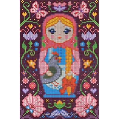 Kit broderie diamant Diamond Painting poupée russe avec la poule