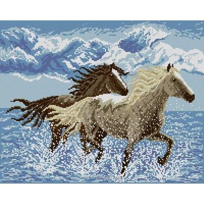 Kit broderie diamant Diamond Painting course de chevaux dans la mer