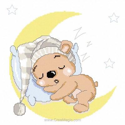 Ourson endormi sur la lune modèle broderie point de croix - Princesse
