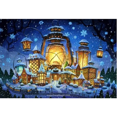Kit broderie diamant village de lampes noel - Wizardi