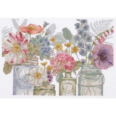 Broderie en point compté DMC aquarelle fleurs en bocaux