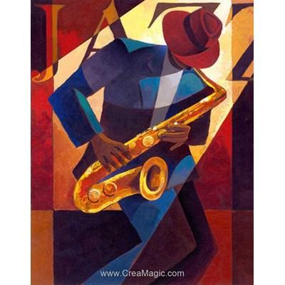 Kit broderie diamant Diamond Painting saxophone - jazz