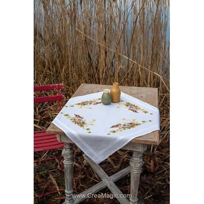 Nappe en kit oiseau dans le nid au point de croix imprimé - Vervaco PN-0155231