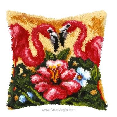 Kit coussin point noué couple flamand d'Orchidea