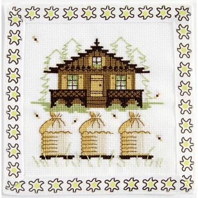 Mini point de croix le chalet aux abeilles - alpes - DMC