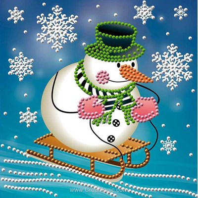 Kit broderie diamant snowman on the sledge - Diamond Painting