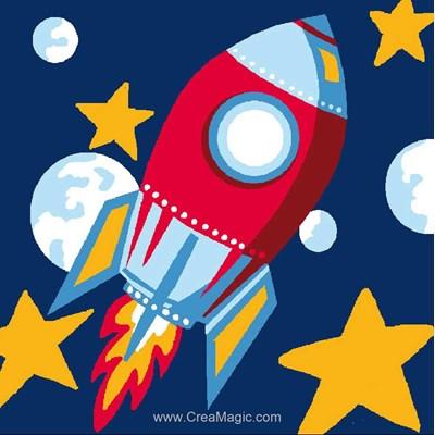 Kit canevas complet fusée dans l'espace de Luc Création